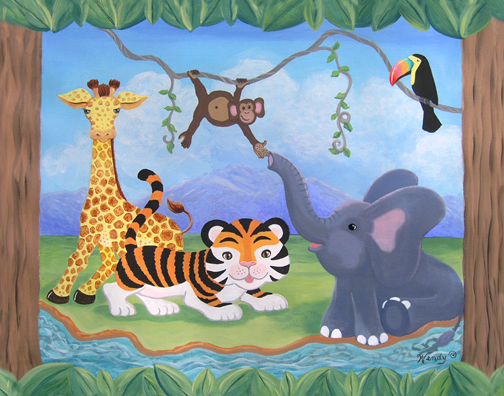 Jungle nursery mural art jungle room nursery theme for Baby room jungle mural